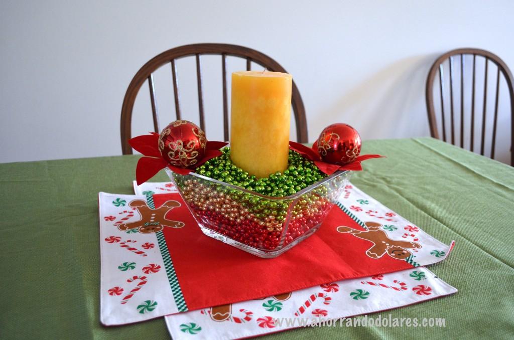Decoraciones para navidad econ micas con adornos de perlas - Mesa para navidad decoracion ...