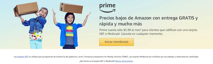 Amazon Prime descontado Medicaid